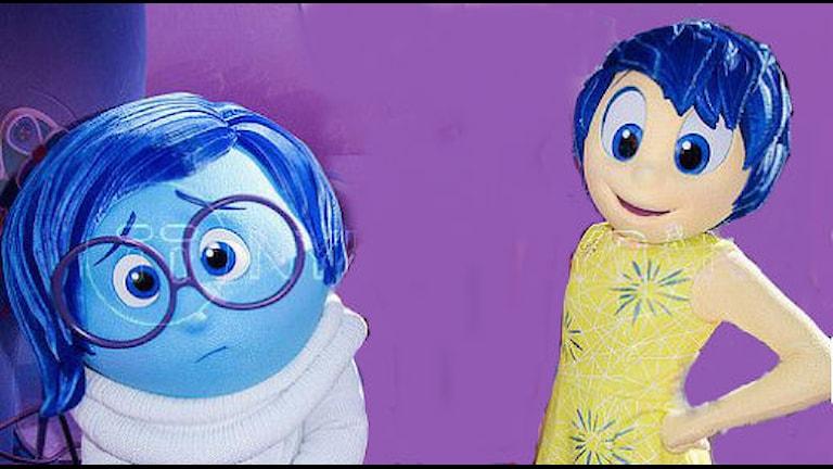 De personifierade känslorna Vemod och Glädje i filmen Insidan ut. Foto: Dan Steinberg/TT bild