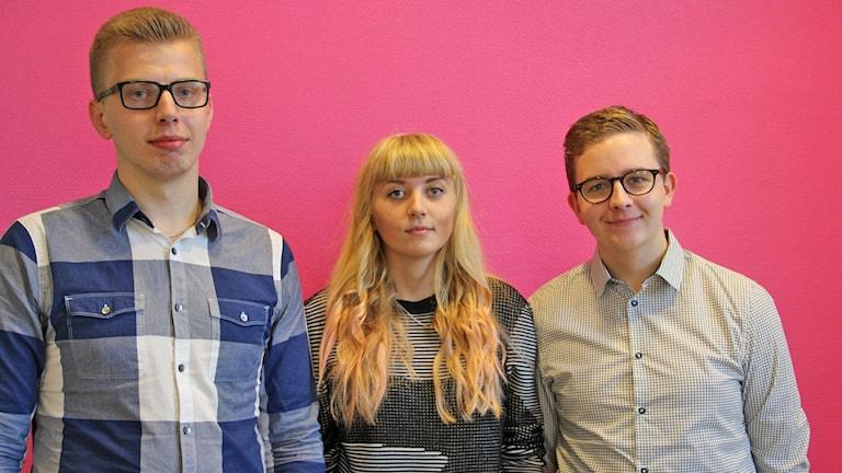 Anders Viking Pettersson, Matilda Edvardsson, Alexander J. Pettersson. Foto: Jenni Jansson/Sveriges Radio