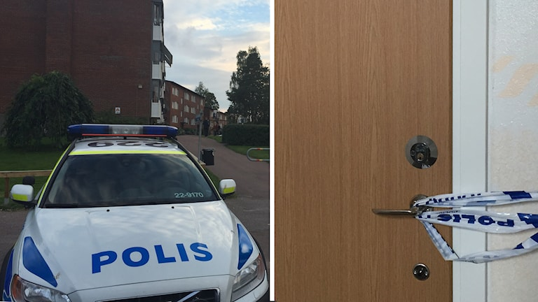 Delad bild föreställande en polisbilutanför ett lägenhetshus och en avspärrad lägenhet. Foto: Daniel Wiklund/Sveriges Radio
