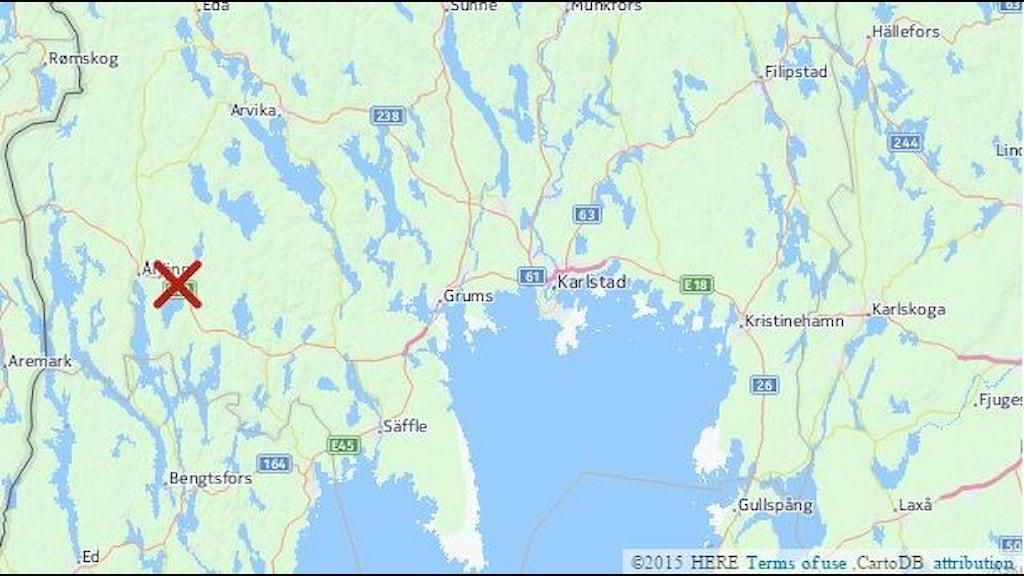 Karta med misstänkt utsläpp i Järnsjön. Grafik: CartoDB