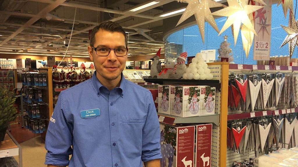 Butikschef Dick Östlund bekräftar att julhandeln är viktig för deras butik