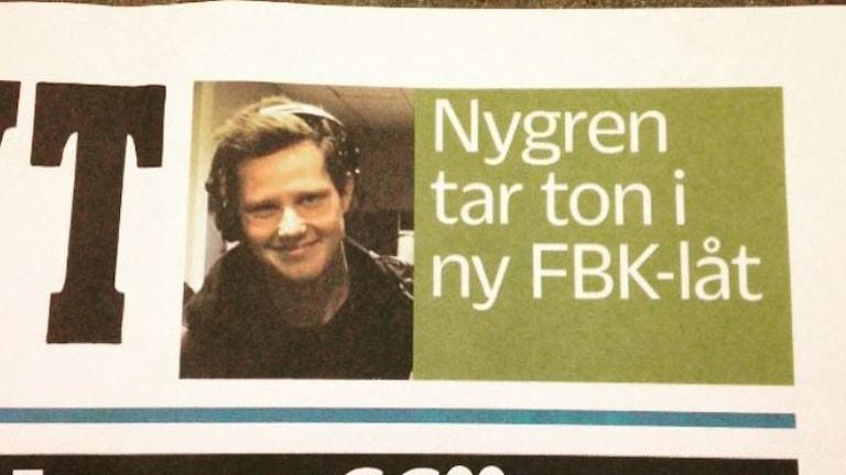 Robert Ojala på löpsedeln. Foto: Sveriges Radio