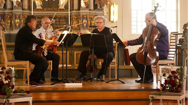 En stråkkvartett i en kyrka Foto: Elisabeth Bergqvist