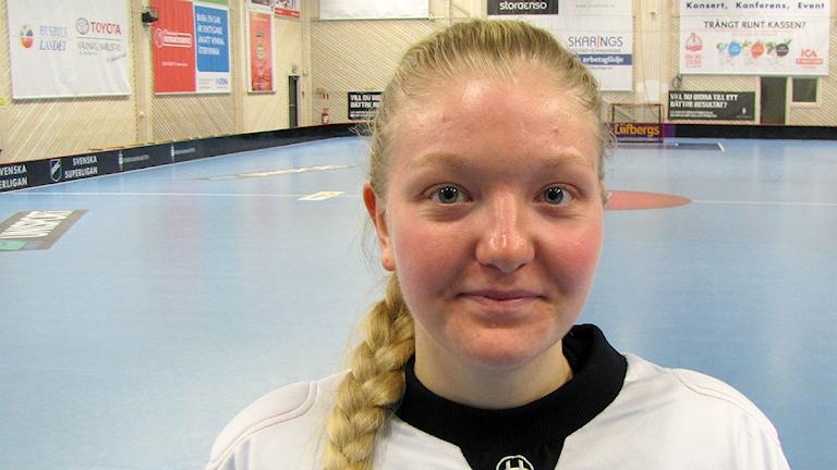 Jessica Rolf, duktig målvakt i Karlstad de många målen till trots Foto: Ola Carlsson, P4 Värmland
