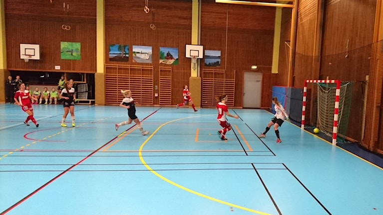 Spelare som nyss gjort mål. Foto: Frida Jansson Högberg/Sveriges Radio