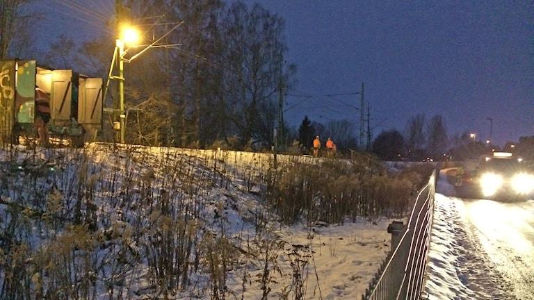 Reparationsarbete vid järnvägen i Karlstad. Foto: Per Larsson/Sveriges Radio.