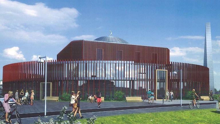 Moskén som kan byggas på Rud i Karlstad. Bild: ArkitektStudion AB