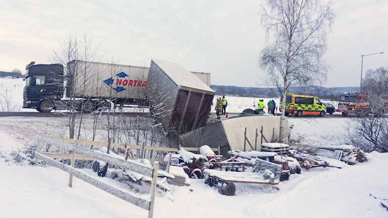En olycksplats. Foto: Annika Ström/Sveriges Radio.