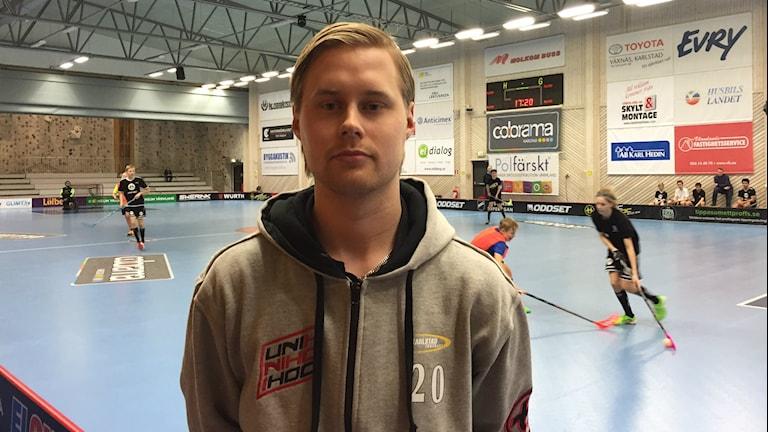 Karlstad IBF:s representant till landslaget, Adam Colling. Foto: Daniel Viklund/Sveriges Radio.