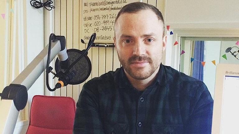 Joacim Lundin passade också på att tipsa om värmländska Instagrammare att hålla koll på. Foto: Sara Johansson/Sveriges Radio.