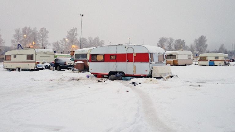 Migrantcampingen Karlstad. Foto: Robert Ojala/Sveriges Radio.