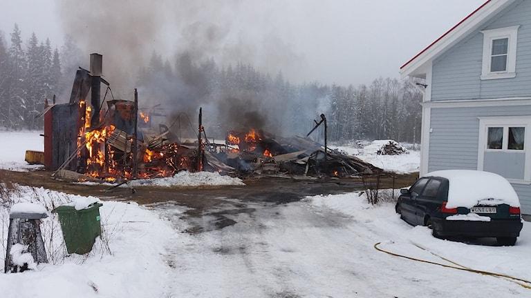 Brand i Sunne. Foto: Lennart Nordenstein/Sveriges Radio.