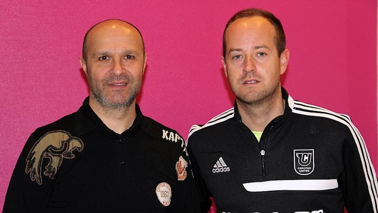 Amir Alagic, David Ekelund, Carlstad Uniteds tränare Foto Örjan Bengtzing/Sveriges Radio.