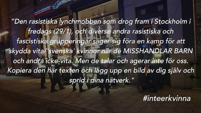 Text som beskriver vad #inteerkvinna är