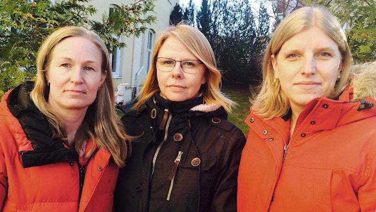 Susanne Eriksson, Carina Westerberg och Therese Persson. Foto: Mari Stenström/Sveriges Radio.