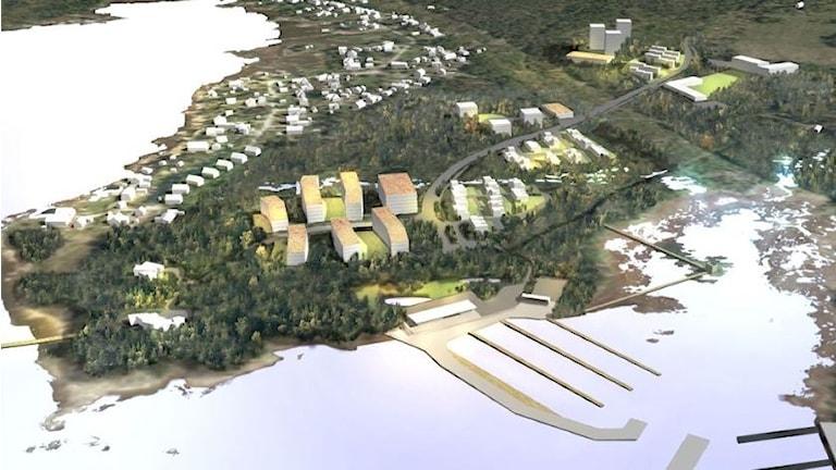Illustration som visar det planerade bostadsområdet. Illustration/Karlstads kommun