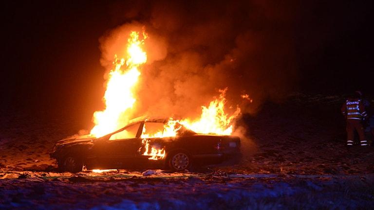 Bilbrand efter singelolycka