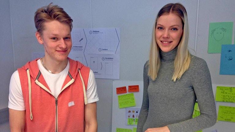 Daniel Eriksson och Frida Block, elever på Sundstagymnasiet, deltog i workshopen kring psykisk ohälsa bland unga.