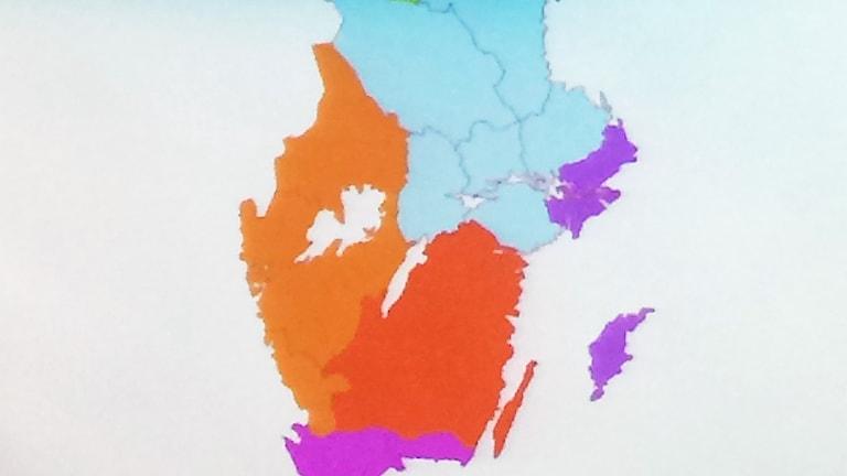 En karta med nya regioner i Sverige. Foto: Privat