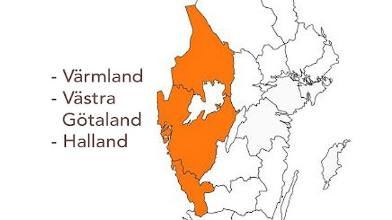 Nya storregionen, Värmland, Västra Götaland och Halland. grafik: Sveriges Radio/Statens offentliga utredningar