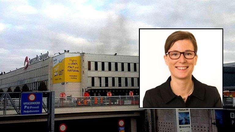 Rök från byggnad och Kajsa Sundström (infälld). Foto: Daniela Schwarzer/TT och Region Värmland