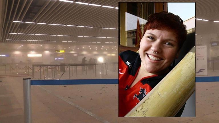 Flygplatsen Zaventem i Bryssel och Ebba Hagbom, Karlstad. Foto: APoch Privat