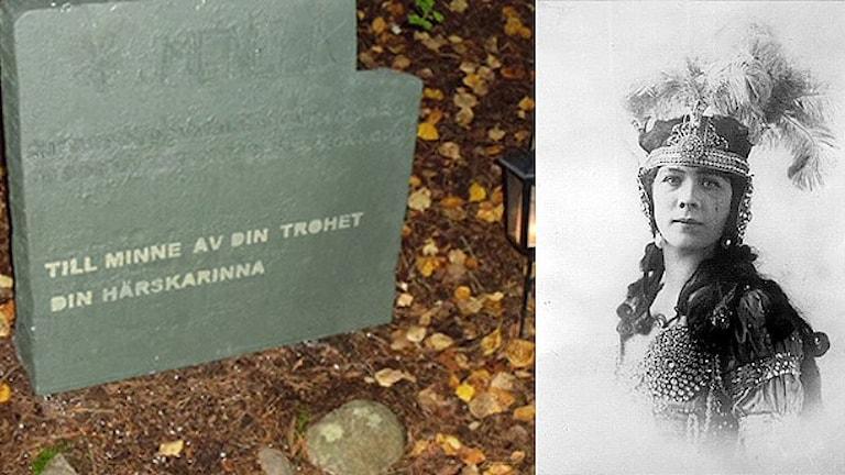 En gravsten och ett portträtt av Baptista Schreiber. Foto: Karlskoga kommun.