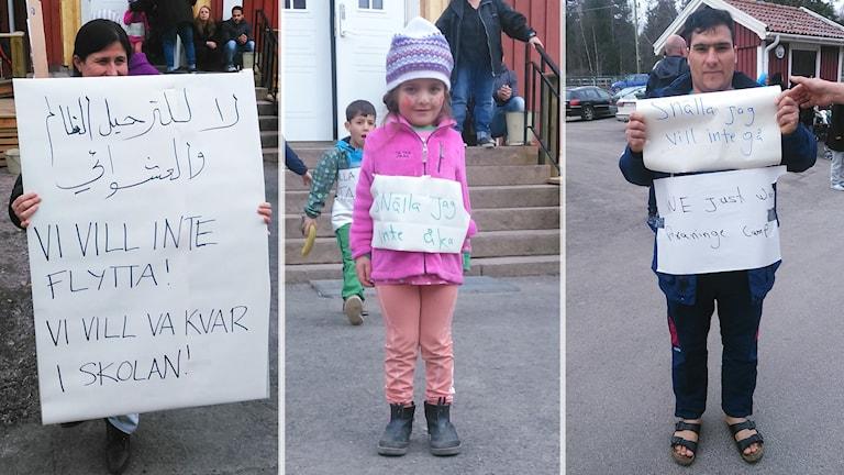 Bilder av tre nänniskor som protesterar. Foto: Privat.