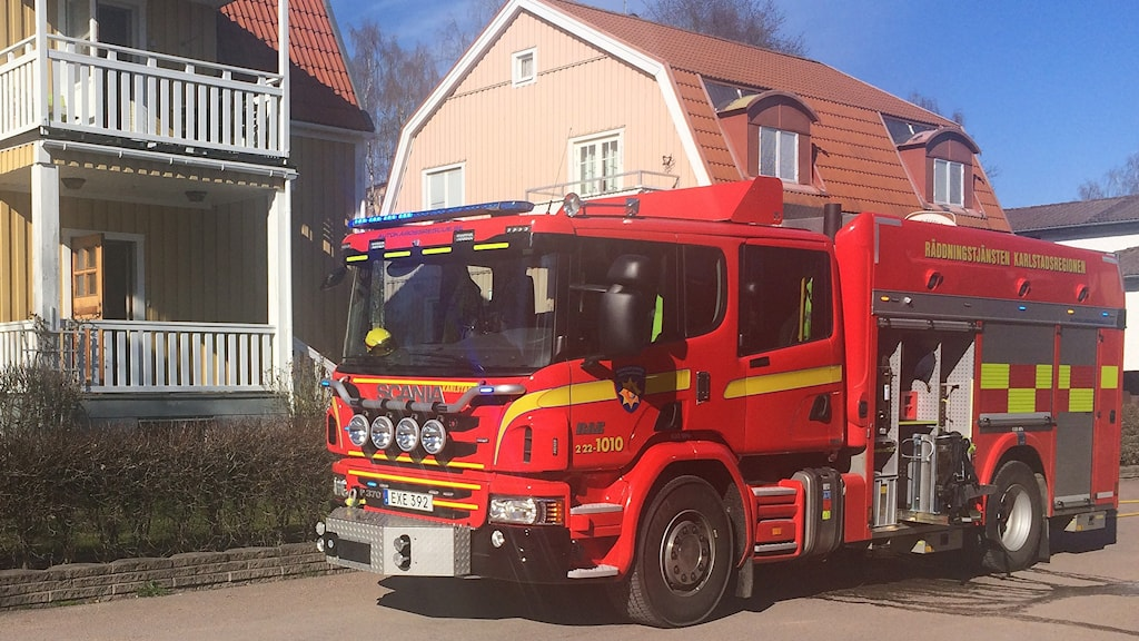 Räddningstjänsten vid en utryckning i Karlstad. Foto: Björn Söderholm/Sveriges Radio.