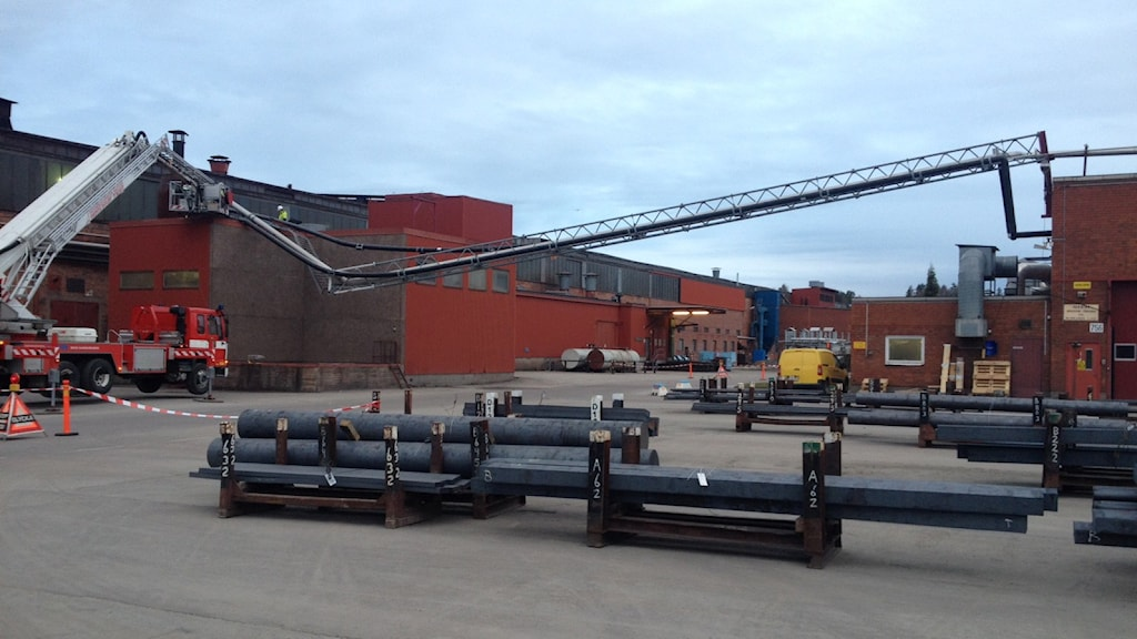 Skadat ledningsställverk på Hagfors järnverk.