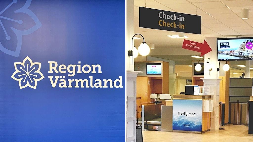 Montage: Region Värmland-skylt, check in på en flygplats. Foto: Annika Ström/ Jonas Berglund/Sveriges Radio.