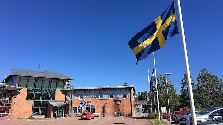 Flaggor på halv stång. Foto: Tomas Hedman/Sveriges Radio.