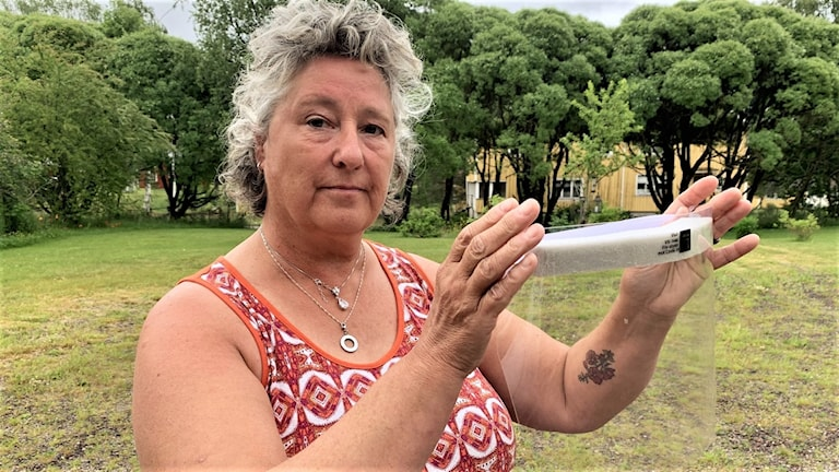 Kvinna med skyddsvisir. Foto: Amanda Moln/Sveriges radio