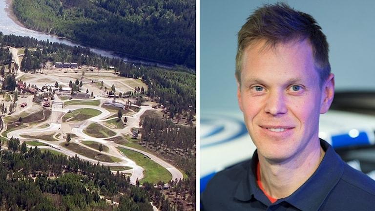 Rallycrossbanan i Höljes och P-G Andersson. Foto: Sveriges Radio och Fredrik Sandberg/TT.