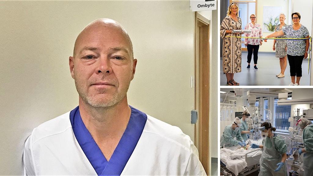 Ett bildkollage, en man i en sjukhuskorridor, fyra kvinnor vid en invigning och en sjuk i covid i ett operationsrum.