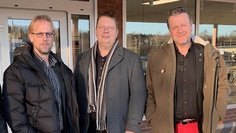 Mathias Lindquist (S), Per Lawén (S) och Leif Haraldsson (S). Foto: Felix Hall/Sveriges Radio.