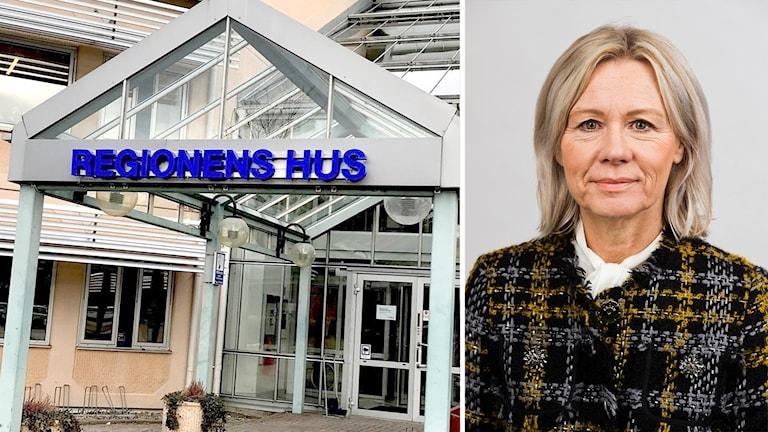 Anneli Snobl och regionens hus. Foto: Annika Ström/Sveriges radio och pressfoto från region Värmland