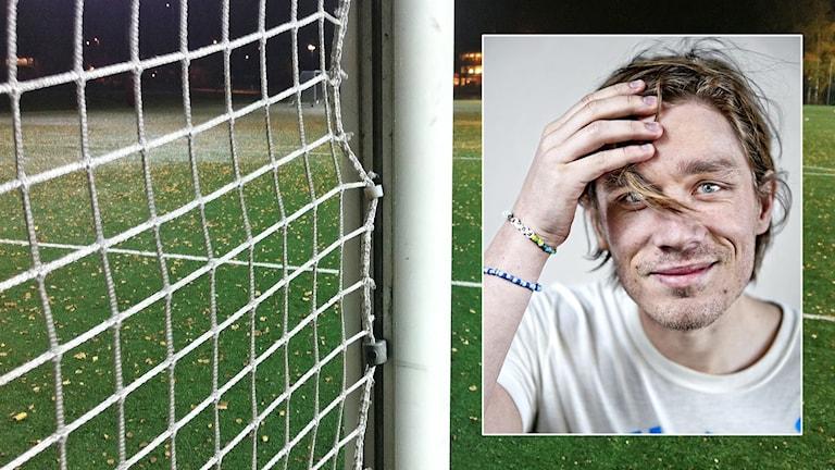 En fotbollsplan och en infälld bild på Markus Carlsson. Foto: Sveriges Radio och Jessica Segerberg.