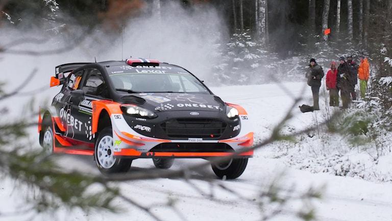 Mads Östberg körde en Ford 2017. I år är det Citroén som gäller för norrmannen. Foto: Isak Olsson/Sveriges Radio.