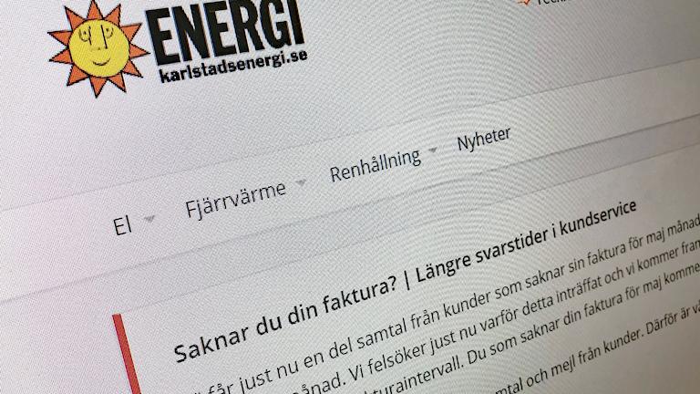 En skärmdump från Karlstads energis hemsida. Foto: Sveriges Radio.