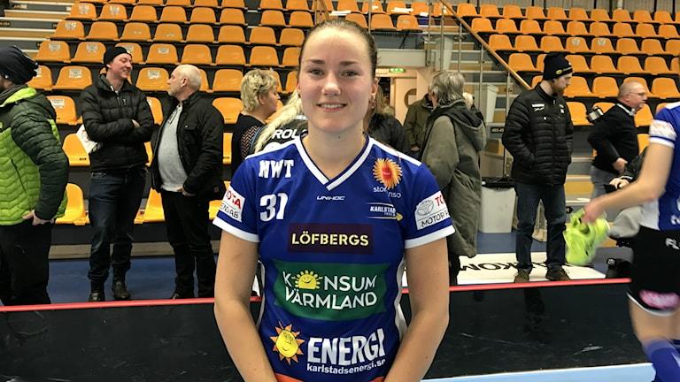 Lagkaptenen Tilda Flodell. Foto: Daniel Viklund/ Sveriges Radio.