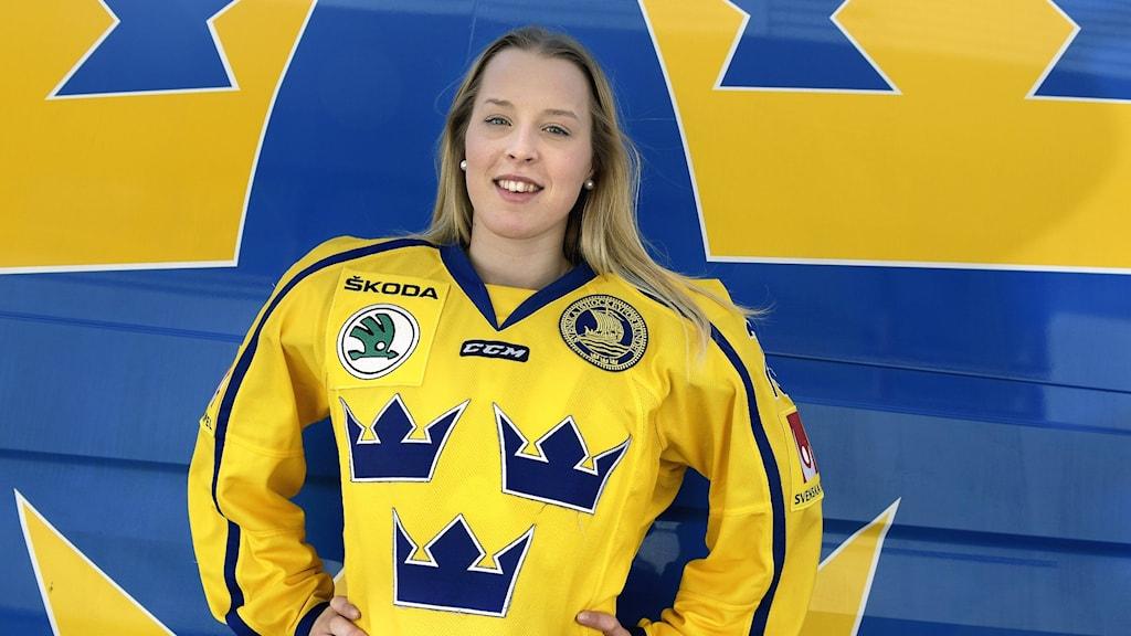 Olivia Carlsson under ishockey-VM 2019.  Foto: Jonas Ekströmer / TT