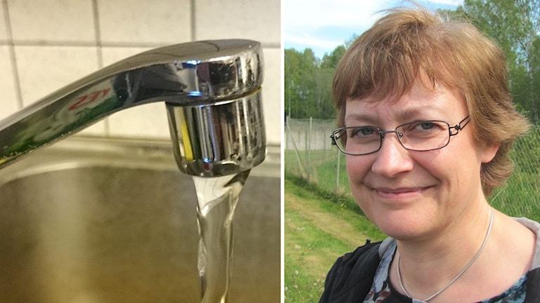 En vattenkran och Eva-Lena Beiron. Foto: Sveriges Radio.