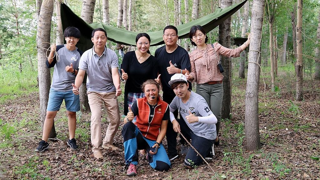 Ulrika Lindenäs tillsammans med kinesiska pedagoger. Foto: Privat.