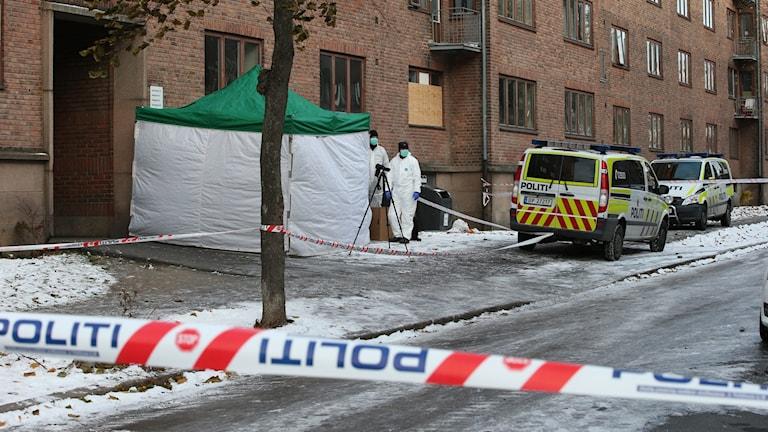 Polisen i Norge har spärat av en mordplats. Foto: Gorm Kallestad/TT.