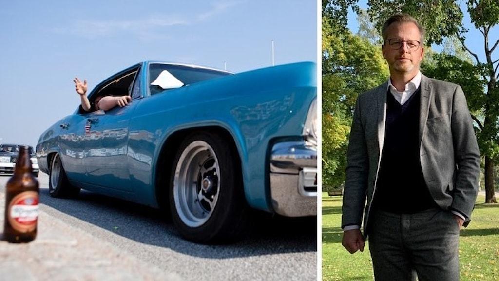 collage med bil och minister