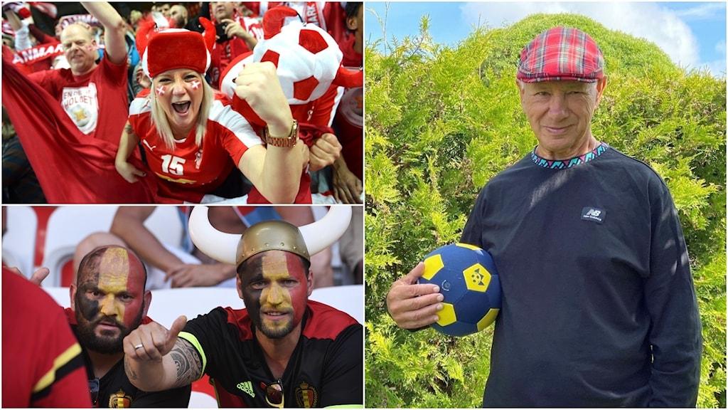 Fotbollsfans från Danmark, Belgien och Skottland.