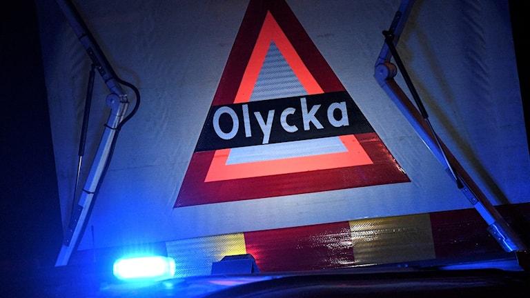 """Skylt med texten """"Olycka"""". Foto: Johan Nilsson/TT.olyck"""