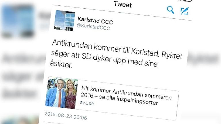 En skärmdump av en tweet.