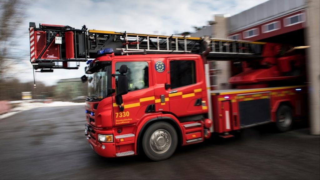Brandbil under utryckning. Foto: Pontus Lundahl/TT.